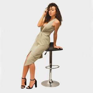 Dresses & Skirts - •||OLIVE||• SLEEVELESS V-NECK ASYMMETRIC HEM DRESS